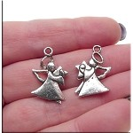 Double Sided Angel Charm Antique Silver Finish 24x15mm
