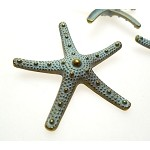 Extra Large Starfish Pendant with Verdigris Patina, 58mm Sea Star