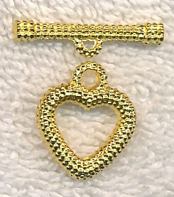 Dotted Heart Toggle Clasp, Bright Gold Finish