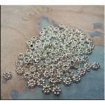 Bright Silver Pewter 4mm Daisy Spacer Beads Jewelry Spacers (100)