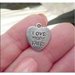 Silver Love Hope Faith Message Charms, Antique Silver Pewter Heart Charms Bulk (15)