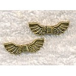 Antique Gold Pewter Fancy Angel Wing Bead 22x7mm