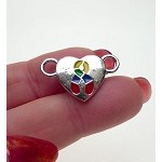Heart Autism Jewelry Connector, Autism Awareness Jewelry Finding with Multicolor Enameled Ribbon