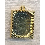 Inlay Bezel Frame or Picture Frame Charm Pendant Bright Gold