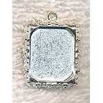 Bright Silver Inlay Frame or Picture Frame Charm Pendant