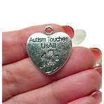 Autism Touches Us All Heart Pendants Autism Awareness Charms Bulk (10)