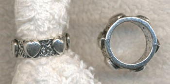 Large Hole Heart Ring Band Bead