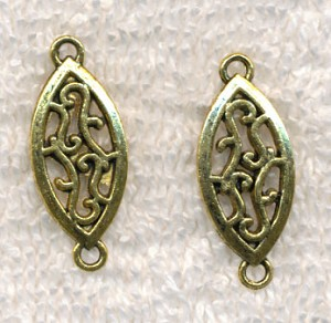 Scroll Teardrop Jewelry Link Connector Finding with Antique Gold Finish