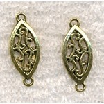 Scroll Teardrop Jewelry Connectors, Antique Gold Finish (10)