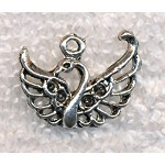 Antique Silver Pewter Filigree Swan Charm