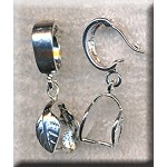 Silver Plated Leaf Bail Hinged Snap and Pinch Jewelry Bail