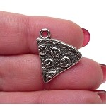 Pizza Charms, Antiqued Silver Pewter Pizza Slice Charms, Food Charms, Bulk (10)