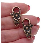 Flower Lobster Clasp, Floral Trigger Clasp, Antique Copper Finish, 24x13mm (1)
