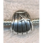 Sea Shell Large Hole Bead, Antique Silver