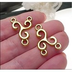 Triskelion Jewelry Connectors Rosary Stations Celtic Spiral Jewelry Findings Antique Gold Bulk (10)