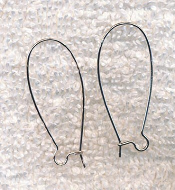 Silver Plated Long Kidney Earwires, 20pc, 10pr