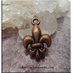 Fleur Charm, Antique Copper, 18x12mm
