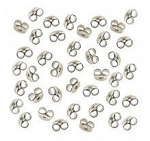 Silver Plated Earring Nuts-Post Earring Backs-Earring Clutches, 50pc