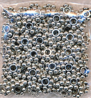 6mm Daisy Spacers, Antique Silver (100)