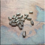 Tibetan Silver Fancy Striped Rice Spacer Beads, 7x3.5mm, Antique Silver Plated Finish Pewter (20)
