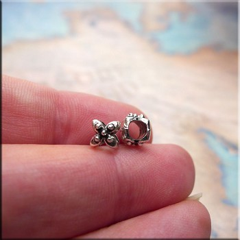 Flower-style Large Hole Spacer Beads with 3.5mm Hole, Antique Silver (10)