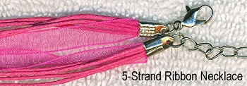 Hot Pink Organza Necklaces, Pink Ribbon Necklaces (10)