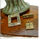 Square Geometric Toggle Clasps with Matching Charms Antique Gold Bulk (10)