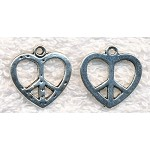 Silver Peace Heart Charm Necklace - Everyday Peace Symbol and Heart Jewelry