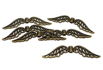 Brass Large Angel Wing Beads, 32mm Antique Brass Pewter Angel Wing Beads, Bulk (6)