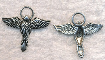 Silver Angel Pendants, Antique Silver Pewter Angel with Halo Pendants, Bulk (10)