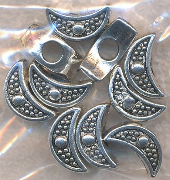 Tibetan Silver Crescent Moon Large Hole Beads, Big Hole Beads  (1)