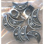 Tibetan Silver Crescent Moon Large Hole Beads, European Style Big Hole Beds  (1)