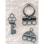 Lock and Key Clasps and Charms Sets, Antique Silver (6)
