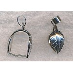 Leaf Pinch Bail, Silver Plated