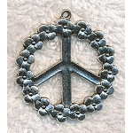 Large Peace Sign Pendant, 38mm Peace Pendants with Flower Border (1)