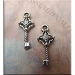 Key Charm with Granulated Star Center, 20x8mm Double Sided