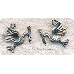 Antique Silver Pewter Shalom Peace Dove Charm, 20x20mm