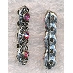5 Strand Fancy Jewelry Separator with Pink Crystals