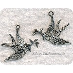 Antique Silver Pewter Filigree Peace Dove Charm Pendant, 34x32mm