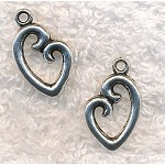 Antique Silver Pewter Heart Charm, 20x12mm