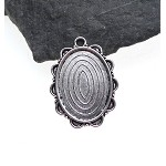 Antique Silver Oval Ruffled-Edge Bezel Pendant for Mixed Media, Cameo or Cabochon Setting