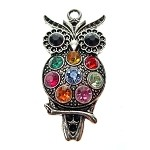 Multicolored Crystal Owl Pendant, 47x24mm
