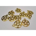 Pentacle Charms, Antique Gold Finish Bulk (10)