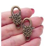 Filigree Swirl Lobster Clasp with Antique Copper Finish 30x12mm Large Jewelry Clasps