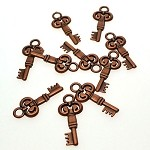 Double-Sided Key Pendant, Antique Copper Skeleton Keys 28x12mm (1)
