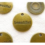 Beautiful Charm, Antique Brass Beautiful Word Charm Medallion