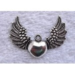 Tibetan Silver Angel Wing Heart Pendant Charm, Pewter