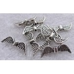 Fancy Angel Wing Beads, Antique Silver (10)