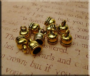 Bell Caps, Jewelry End Caps, 5.5mm Opening, Antique Gold Finish (10)