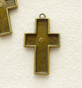 Cross Pendant for Inlay or Mixed Media Applications, Antique Brass (1)